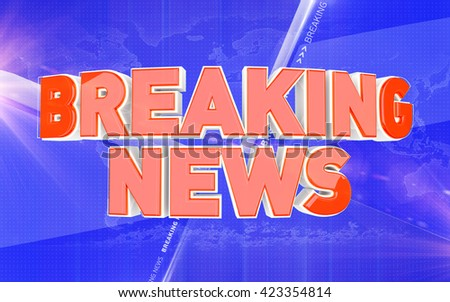 Breaking news. News concept with words Breaking News. 3D rendered broadcast illustration. - stock photo