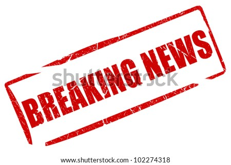 Breaking news stamp - stock photo