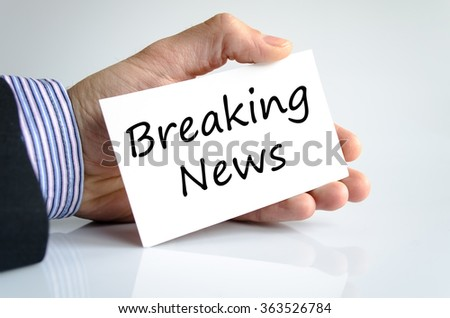 Breaking news text concept isolated over white background - stock photo