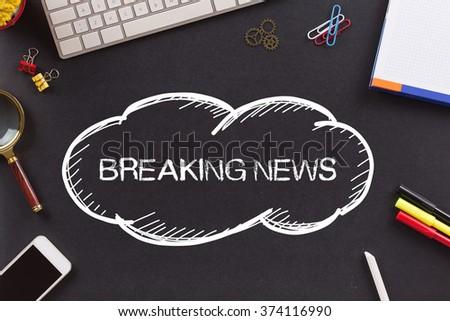 BREAKING NEWS written on Chalkboard - stock photo