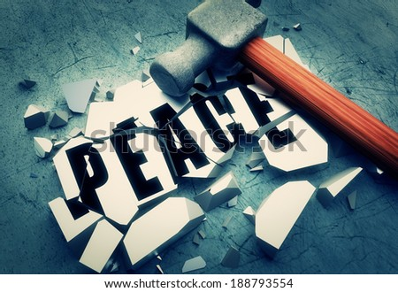 Breaking peace - stock photo