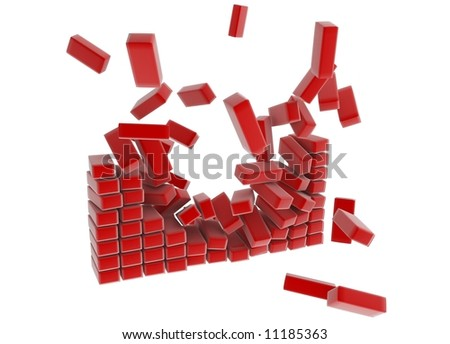 Breaking red long block 3d wall, isolated