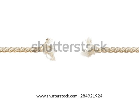 Breaking rope isolated on white background - stock photo