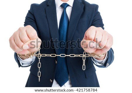 Breaking the law concept with corrupt chained politician or lawyer in closeup being arrested isolated on white - stock photo