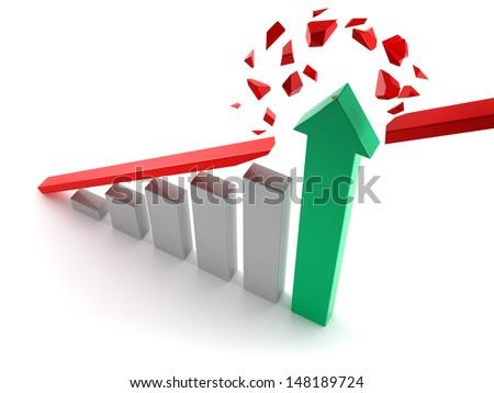 Breaking the trend line - stock photo