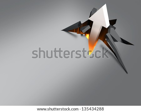 Breaking through! 3D rendered Illustration. - stock photo