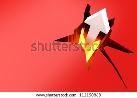 Breaking through! 3D rendered Illustration. Free space for your text. - stock photo