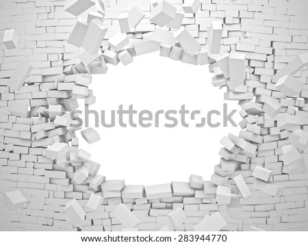 breaking wall brick 3d image - stock photo