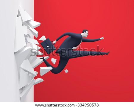 Breakthrough. Business concept illustration. Manager breaking the wall - stock photo