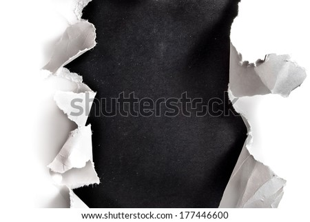 Breakthrough paper hole with blackboard background.