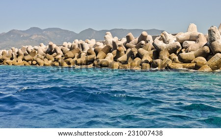 Breakwater. Karlovasi port, Samos, Greece - stock photo
