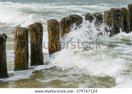 breakwater on the Baltic Sea - stock photo