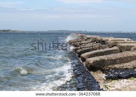 breakwater oosterschelde - stock photo