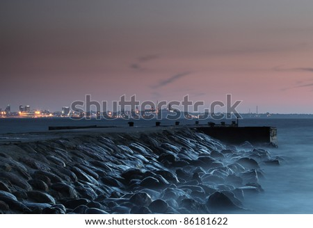 Breakwaters at twilight. Baltic Sea, Estonia, Tallinn