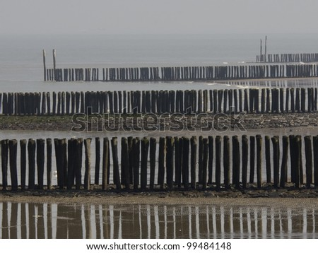 breakwaters on the beach of Breskens in the Netherlands - stock photo