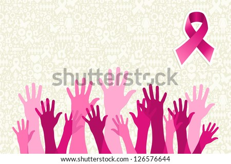 Breast cancer awareness hand people campaign over icon set background. - stock photo