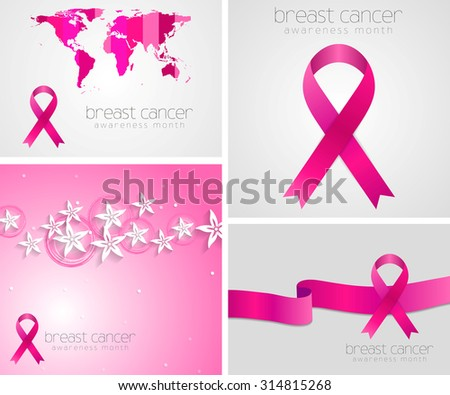 Breast cancer awareness pink ribbon set design. Raster backgrounds - stock photo