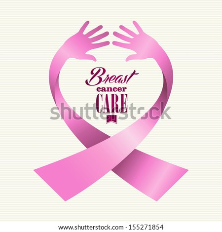 Breast cancer awareness ribbon element text made with human hands - stock photo