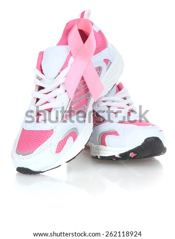 Breast Cancer Awareness ribbon on joggers - stock photo