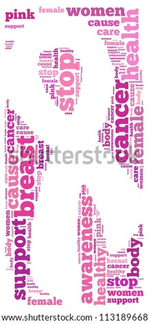 Breast cancer info-text graphics and arrangement concept on white background (word cloud) - stock photo
