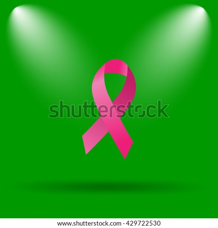 Breast cancer ribbon icon. Internet button on green background.