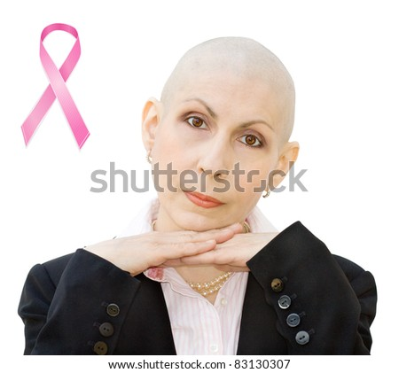 Breast cancer survivor undergoing chemotherapy and loss of hair. Real woman, diagnosed with breast cancer and ovarian cancer. Isolated over white background. - stock photo