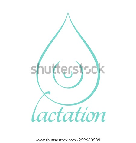 Breastfeeding Lactation Symbol Form Drop Milk Stock Illustration