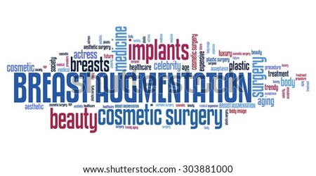 Breasts augmentation - cosmetic surgery. Word cloud concept. - stock photo