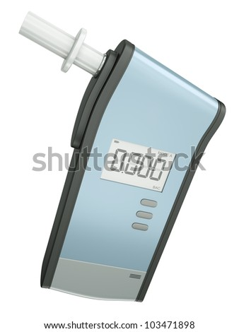 Breath analyzer for measuring blood alcohol content isolated on white background. 3D render. - stock photo