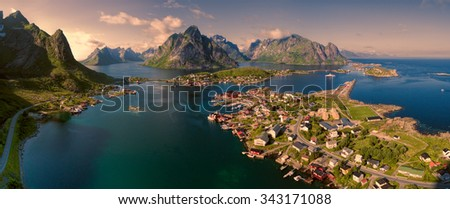 Breathtaking aerial panorama of fishing town Reine and surrounding fjords on Lofoten islands in Norway, famous for its picturesque scenery