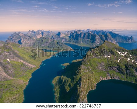 Breathtaking aerial view of Lofoten islands in Norway with their deep fjords and dramatic peaks