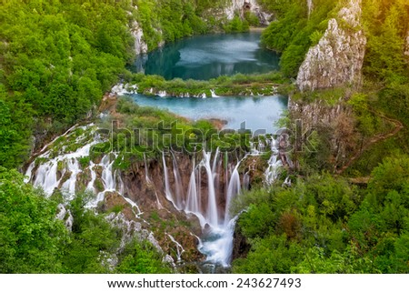 Breathtaking aerial view of waterfalls in the Plitvice Lakes National Park, Croatia