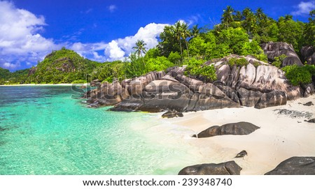 breathtaking beaches of Seychelles islands - stock photo