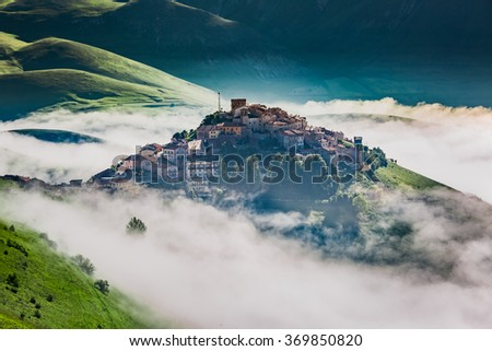 Breathtaking dawn in the Castelluccio, Umbria, Italy - stock photo