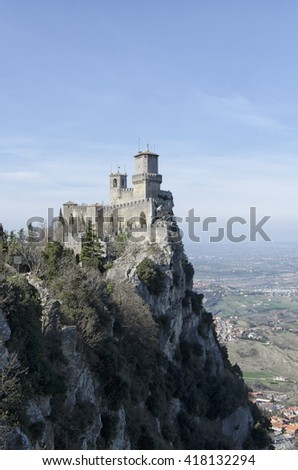 Breathtaking landscape and view of San Marino castle