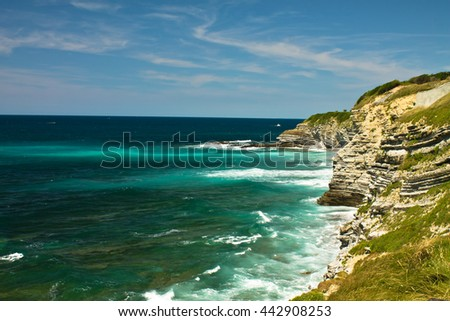 breathtaking nature on coastal path of atlantic ocean on ledge of sainte barbe, saint jean de luz, basque country, france