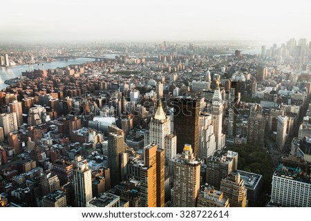 Breathtaking panoramic city view over New York, taken from Empire State Building, USA - stock photo