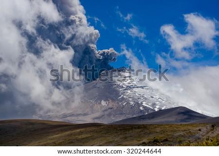 Breathtaking scene of active Cotopaxi volcano erupting in Ecuador, South America - stock photo