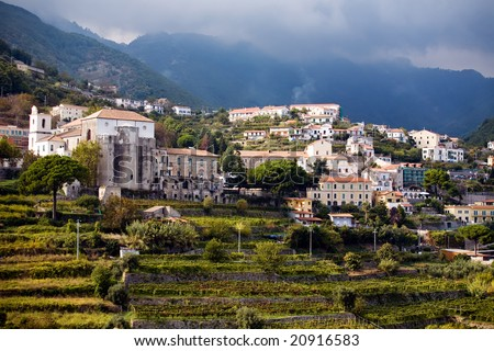 Breathtaking steep village of Ravello on the Costiera Amalfitana in Southern Italy