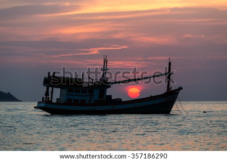 Breathtaking sunset on Kalim beach in Phuket Thailand - stock photo