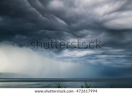 breathtaking Undulatus asperatus clouds over Baikal lake