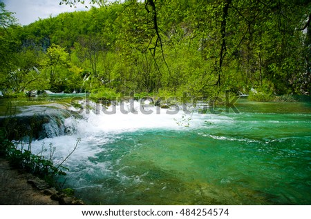 Breathtaking view in the Plitvice Lakes National Park .Croatia . Plitvice lakes