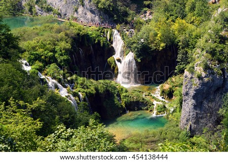 Breathtaking view in the Plitvice Lakes National Park .Croatia wallpaper background - stock photo
