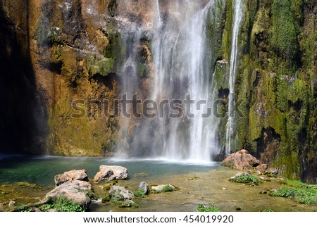 Breathtaking view in the Plitvice Lakes - waterfall National Park .Croatia  - stock photo