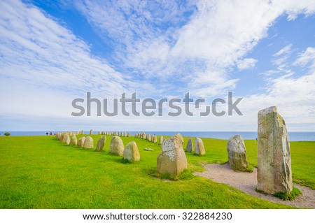 Breathtaking view of Ales stones, megalithic monument in Skane, southern Sweden - stock photo