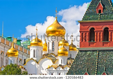 Breathtaking view of  Famous The Annunciation Cathedral in Moscow Kremlin, Russia