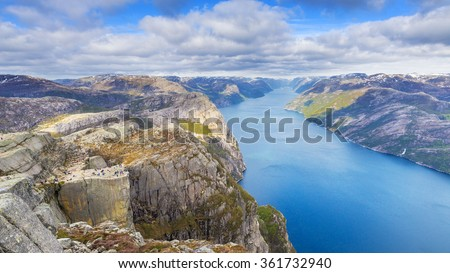 Breathtaking view of Lysefjord with Preikestolen rock, Norway.