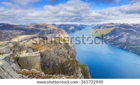 Breathtaking view of Lysefjord with Preikestolen rock, Norway. - stock photo