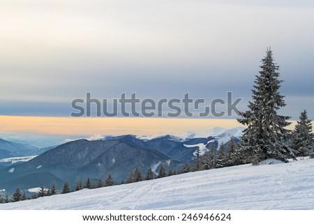 Breathtaking view of snowy mountains in the Tatra mountains - stock photo