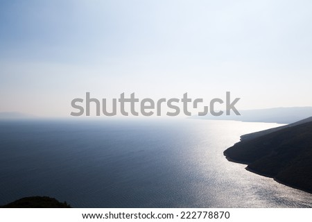 Breathtaking view of the sea from heights - dramatic light - stock photo